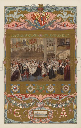 The wedding of the future King Edward VII and Queen Alexandra, in St George's Chapel, Windsor, on 10 March 1863.  Illustration for the Coronation Number of The Sphere, June 1902, to celebrate the coronation of King Edward VII and Queen Alexandra. The coronation took place at Westminster Abbey on 9 August 1902. Originally scheduled for 26 June of that year, the ceremony had been postponed because of the King's illness.