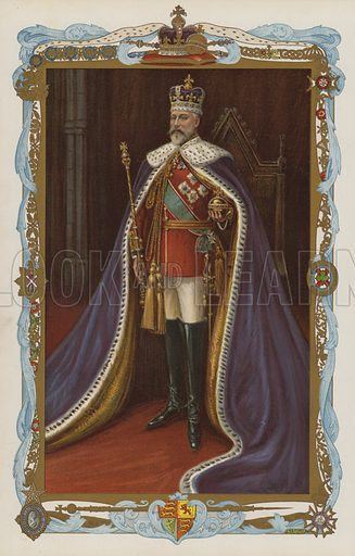 King Edward VII in coronation robes.  Illustration for the Coronation Number of The Sphere, June 1902, to celebrate the coronation of King Edward VII and Queen Alexandra. The coronation took place at Westminster Abbey on 9 August 1902. Originally scheduled for 26 June of that year, the ceremony had been postponed because of the King's illness.