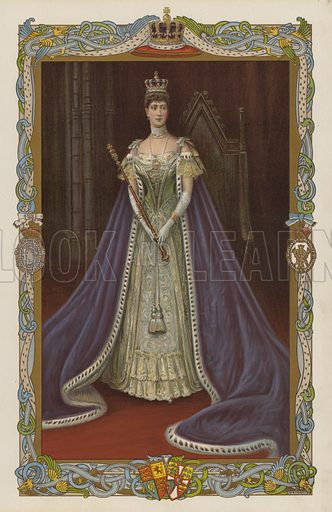 Queen Alexandra, consort of King Edward VII, in coronation robes.  Illustration for the Coronation Number of The Sphere, June 1902, to celebrate the coronation of King Edward VII and Queen Alexandra. The coronation took place at Westminster Abbey on 9 August 1902. Originally scheduled for 26 June of that year, the ceremony had been postponed because of the King's illness.