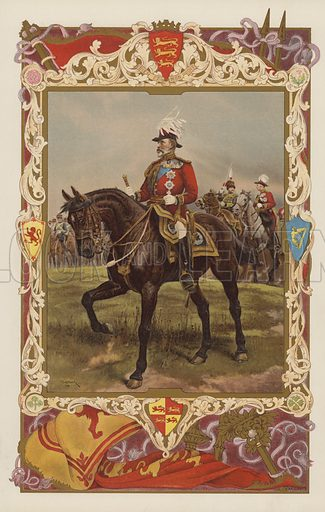 King Edward VII in the uniform of a Field-Marshal.  Illustration for the Coronation Number of The Sphere, June 1902, to celebrate the coronation of King Edward VII and Queen Alexandra. The coronation took place at Westminster Abbey on 9 August 1902. Originally scheduled for 26 June of that year, the ceremony had been postponed because of the King's illness.