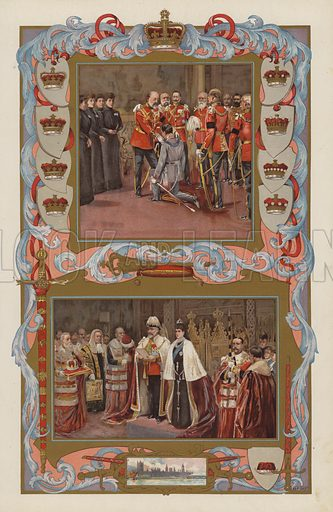 King Edward VII's first acts as sovereign in 1901. Top: Investing his grand-nephew, the German Crown Prince, with the Order of the Garter at Osborne, on 28 January 1901. Bottom: the King opening his first Parliament, on 14 February 1901.  Illustration for the Coronation Number of The Sphere, June 1902, to celebrate the coronation of King Edward VII and Queen Alexandra. The coronation took place at Westminster Abbey on 9 August 1902. Originally scheduled for 26 June of that year, the ceremony had been postponed because of the King's illness.