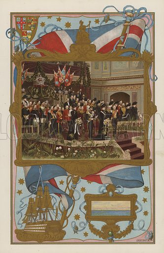 The Duke of Cornwall and York opening the Commonwealth Parliament at Melbourne, Australia, 9 May 1901.  Illustration for the Coronation Number of The Sphere, June 1902, to celebrate the coronation of King Edward VII and Queen Alexandra. The coronation took place at Westminster Abbey on 9 August 1902. Originally scheduled for 26 June of that year, the ceremony had been postponed because of the King's illness.