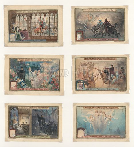 Berlioz, Faust.  Original artwork for a set of Liebig cards.  Late 19th or early 20th century.