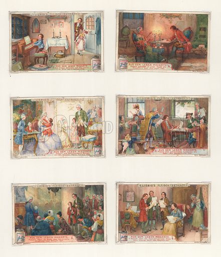 Life of Mozart.  Original artwork for a set of Liebig cards.  Late 19th or early 20th century.