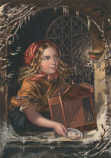 Girl trying to tempt bird back into its cage.  Baxter print.