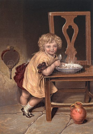 Smiling child eating a meal off a chair.  Baxter print.