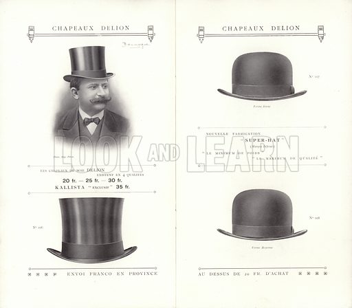 Illustration for hat catalogue issued by Delion, Paris, in 1908.