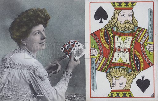 Woman with playing cards and the King of Spades. Postcard, late 19th or early 20th century.