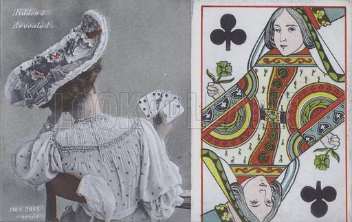 Woman with playing cards and the Queen of Clubs. Postcard, late 19th or early 20th century.