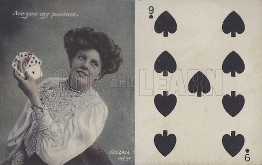 Woman with playing cards and the nine of spades. Postcard, late 19th or early 20th century.