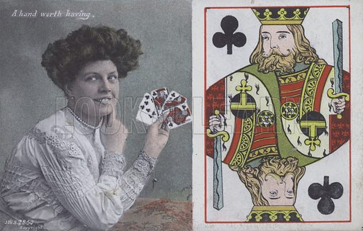 Woman with playing cards and the King of Clubs. Postcard, late 19th or early 20th century.
