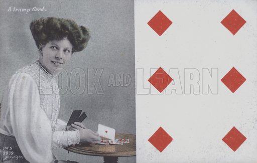 Woman with playing cards and the six of diamonds. Postcard, late 19th or early 20th century.