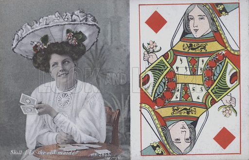 Woman with playing cards and the Queen of Diamonds. Postcard, late 19th or early 20th century.