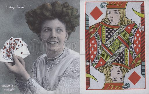 Woman with playing cards and the Jack of Diamonds. Postcard, late 19th or early 20th century.