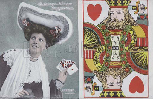Woman with playing cards and the King of Hearts. Postcard, late 19th or early 20th century.