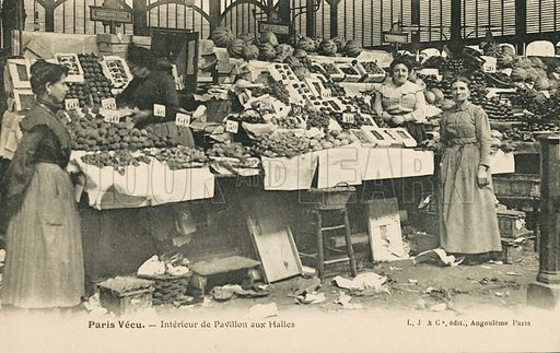Market stalls in Les Halles, Paris. Postcard, late 19th or early 20th century.