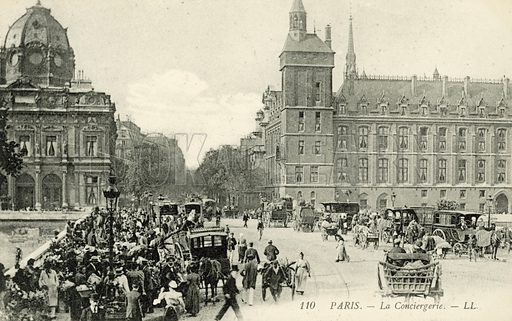 La Conciergerie in Paris, France. Postcard, late 19th or early 20th century.