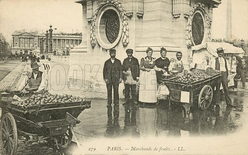 Fruit sellers in Paris, France. Postcard, late 19th or early 20th century.