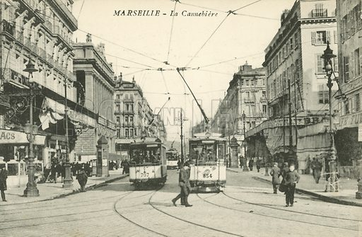 La Canebiere, a street in the old quarter Marseille, France. Postcard, late 19th or early 20th century.