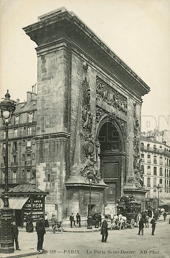 Porte Saint-Denis, Paris. Postcard, late 19th or early 20th century.