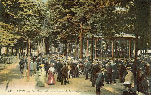People gathering for music in the La Place Bellecour, Lyon. Postcard, late 19th or early 20th century.