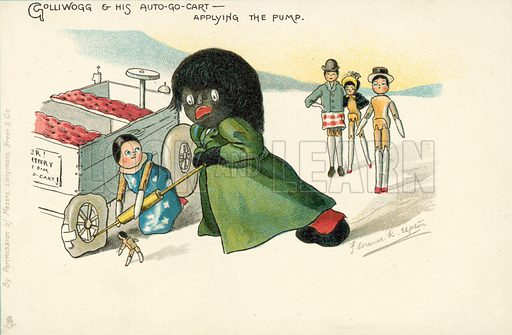 Golliwog pumping up the tyre of his go-kart, a character created by Florence K Upton in a series of children's books. Postcard, late 19th or early 20th century.