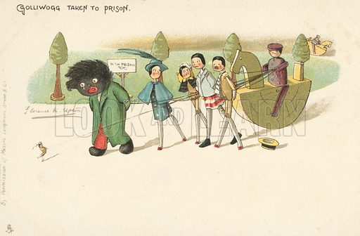 Golliwog being taken to prison, a character created by Florence K Upton in a series of children's books. Postcard, late 19th or early 20th century.