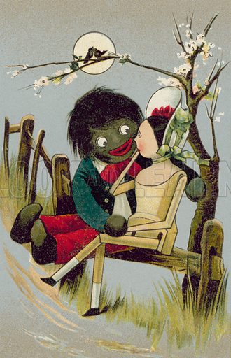 Golliwog embracing another doll, a character created by Florence K Upton in a series of children's books. Postcard, late 19th or early 20th century.
