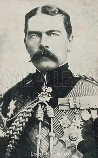 Lord Kitchener (1850-1916), British soldier. Postcard, late 19th or early 20th century.