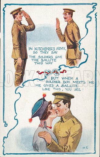 A salute between a solider and his commanding officer in Kitchener's and a different salute when he meets his sweeheart. Postcard, late 19th or early 20th century.