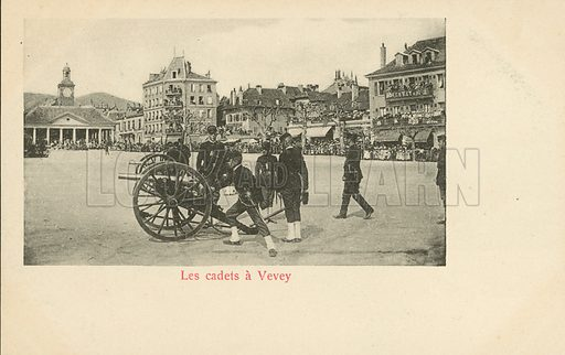 Military cadets in the town of Vevey, Switzerland. Postcard, late 19th or early 20th century.