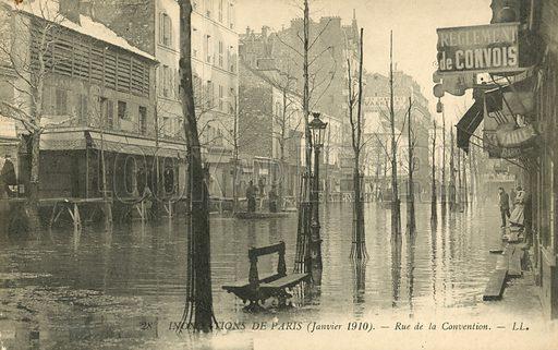 La rue de la Convention, flooding in Paris, January 1910. Postcard, early 20th century.