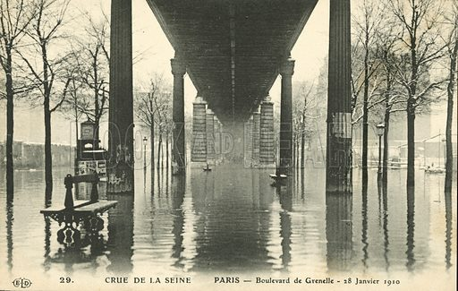 Boulevard de Grenelle, fooding in Paris, January 1910. Postcard, early 20th century.