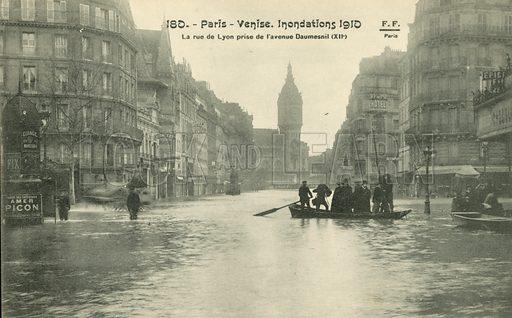 La rue de Lyon and de l'Avenue Daumesnil flooding in Paris, January 1910