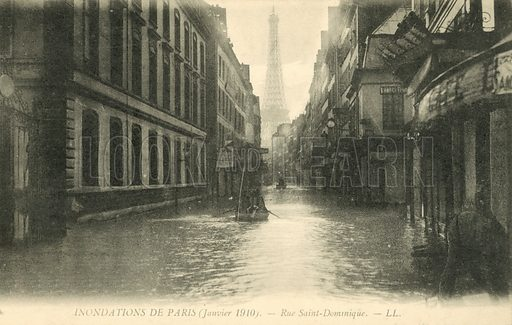 Rue Saint-Dominique, flooding in Paris, January 1910. Postcard, early 20th century.