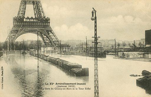 Gare du Champ de Mars at the Eiffel Tower, flooding in Paris, January 1910