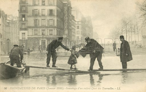 Rescuing a child at the Quai Des Tournelles, flooding in Paris, January 1910. Postcard, early 20th century.