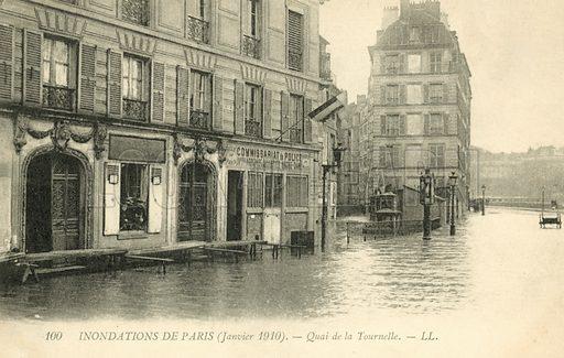 Quai de la Tournelle, flooding in Paris, January 1910