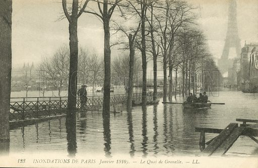 Quai de Grenelle, flooding in Paris, January 1910. Postcard, early 20th century.