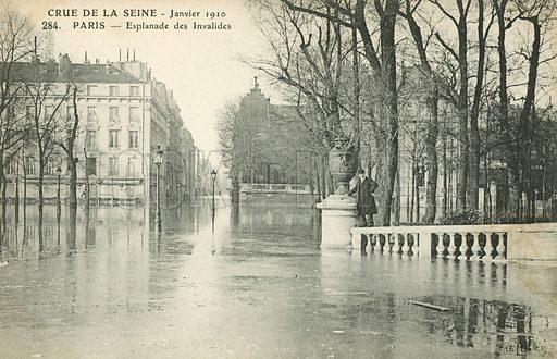 Esplanade des Invalides. , flooding in Paris, January 1910.