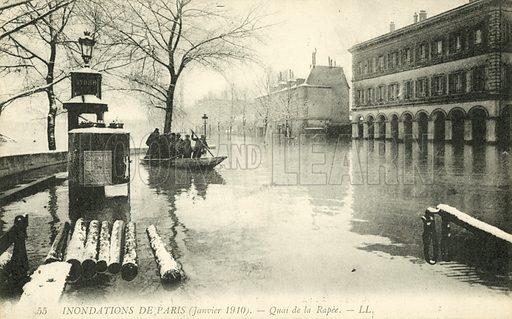 Quai de la Rapee, flooding in Paris, January 1910. Postcard, early 20th century.