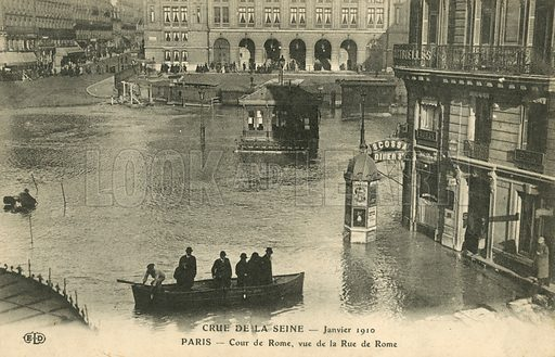 Rue de Rome, flooding in Paris, January 1910. Postcard, early 20th century.