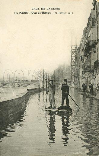 Quai de Bethume, flooding in Paris, January 1910