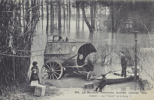 The suburb of Creteil in the flooding in Paris, January 1910. Postcard, early 20th century.
