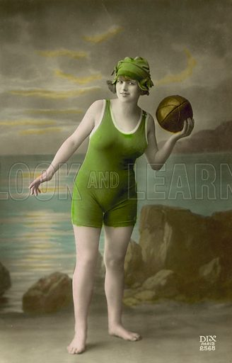 Young woman in a bathing costume. Postcard, late 19th or early 20th century.