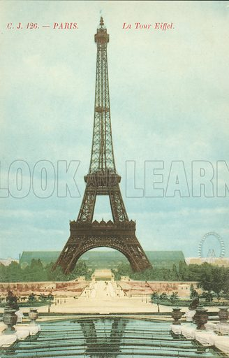 Eiffel Tower in Paris, France. Postcard, early 20th century.