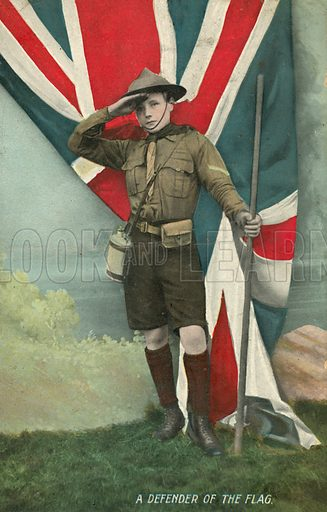 British boy scout saluting the flag. Postcard, late 19th or early 20th century.
