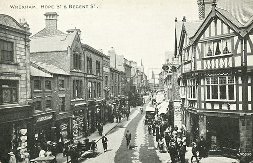 Hope Street and Regent Street in Wrexham, North Wales. Postcard, late 19th or early 20th century.