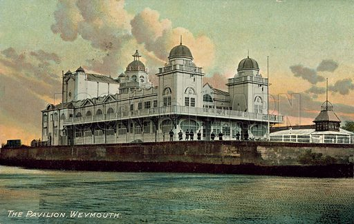 The Pavillion at Weymouth, Dorset. Postcard, late 19th or early 20th century.