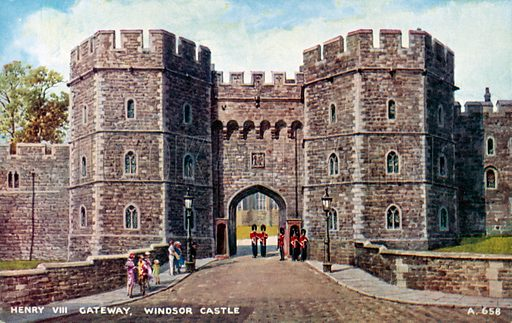 Henry VIII Gateway at Windsor Castle, Berkshire. Postcard, late 19th or early 20th century.